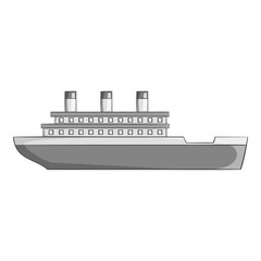Ship icon. Gray monochrome illustration of ship vector icon for web