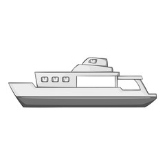 Big ship icon. Gray monochrome illustration of big ship vector icon for web
