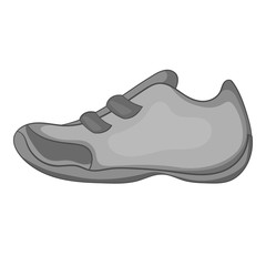 Sneakers for tennis icon. Gray monochrome illustration of sneakers for tennis vector icon for web