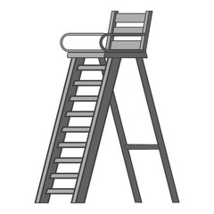 Tennis tower for judge icon. Gray monochrome illustration of tennis tower for judge vector icon for web