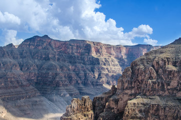 Aerial view of Grand Canyon on a mostly cloudy day