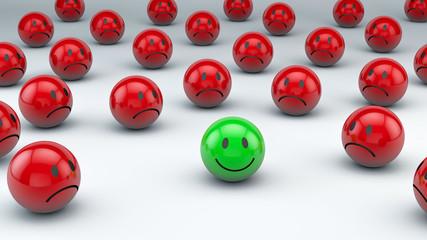grüner 3D Smiley umgeben von roten 3D Smiley