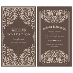 Wedding Invitation cards in an vintage-style brown.