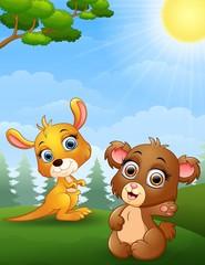 Baby kangaroo and baby bear cartoon in the jungle