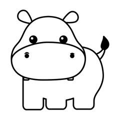 cute hippopotamus isolated icon vector illustration design