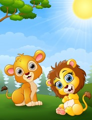 Two lion cub cartoon in the jungle