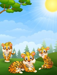 Tiger cub cartoon in the jungle