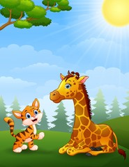 Tiger and Giraffe cartoon in the jungle