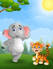 Elephant and  tiger cartoon in the jungle
