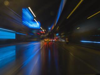 Abstract Streak Light Traffic In Night City Background.