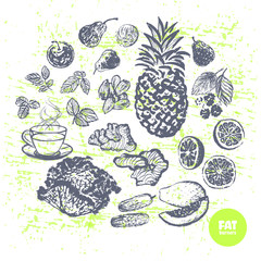 Ink hand drawn fat burners fruits and veggies
