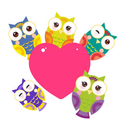 set bright colorful owls Card design with a funny animal with pink heart on a white background. Vector
