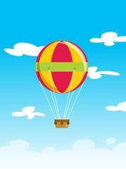Vector illustration of balloon aerostat flying high on sky cloud
