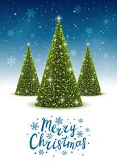 Christmas trees on shiny night background 4