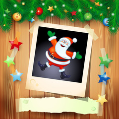 Christmas background with photo of happy Santa
