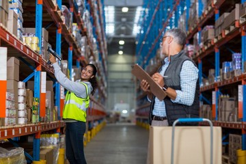 Warehouse manager and female worker interacting while working