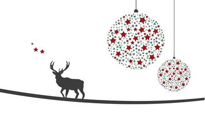 Weihnachtsmotiv mit Weihnachtsschmuck, Sternen und Hirsch
