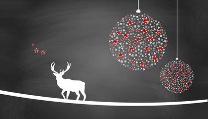 Weihnachtsmotiv mit Weihnachtsschmuck, Sternen und Hirsch auf Schiefertafel