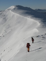 winter hiking in Carpathian mountains