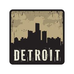 Grunge vintage stamp with text Detroit