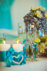 beautiful crystal glasses with champagne standing on the table