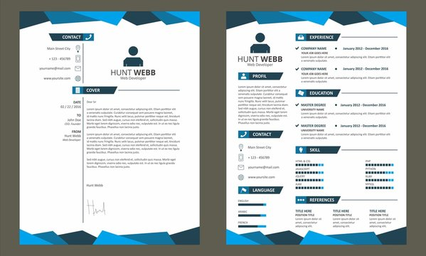 CV Resume with Cover Letter Template Vector Blue
