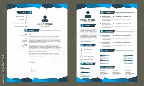 CV Resume With Cover Letter Template Vector Blue Stock