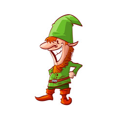 Colorful vector illustration of a christmas elf or dwarf with green clothes and red beard and hair
