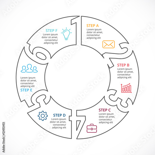 U0026quot Vector Circle Numbers Linear Infographic  Cycle Diagram