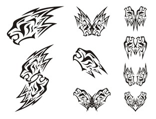 Symbols of the lion's head in the form of a lightning. Double symbols of the lion's head in tribal style