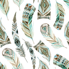 Watercolor decorated tribal feathers seamless pattern