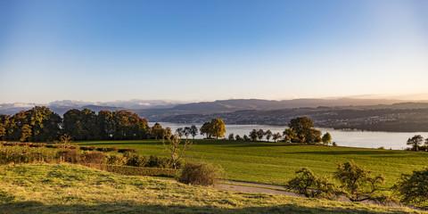 Panoramaaufnahme mit Blick über den Zürichsee