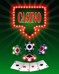 Vector casino poker chips, template for design backgrounds, cards and banners.