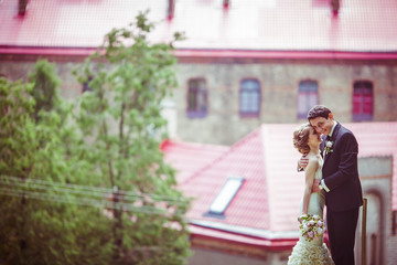 Happy groom holds tiny bride while posing before red roofs