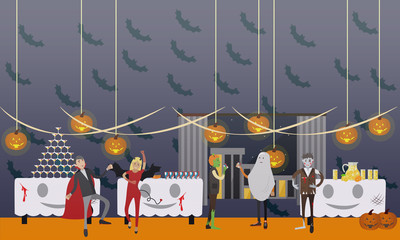 Happy halloween holiday party interior concept banner. Vector illustration in flat style design