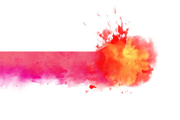 Warm Red watercolor abstract border