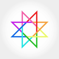 8 Star Colorful Logo Icon Template