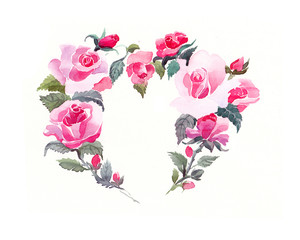 the heart with flowers watercolor made by hand drawn isolated on the white background