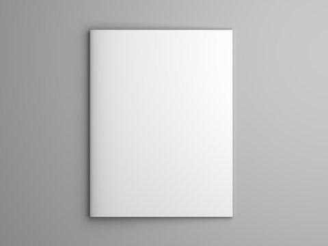Blank 3D illustration brochure or magazine isolated on gray.