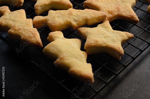 Christmas Shaped Home Made Biscuits On Cooling Rack Stock Photo And