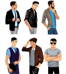 different people, men face, fashion man, group person