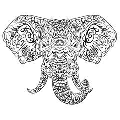 Zentangle ethnic indian Elephant boho paisley
