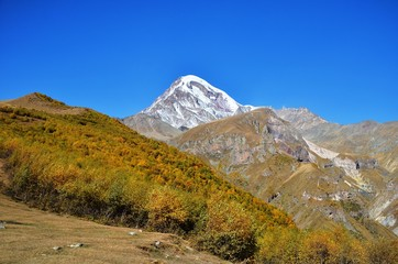 Mt Kazbek in the autumn