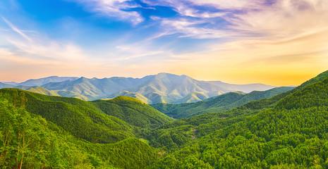 Mountain valley at sunset