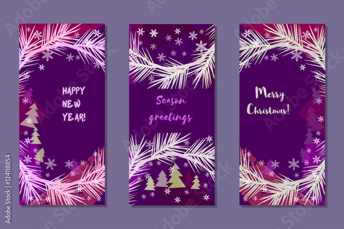 set of vertical vector banners season greetings merry christmas happy new year