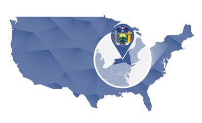 New York State magnified on United States map.