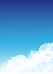 White transparent realistic fluffy cumulus clouds. Clear blue sky vector illustration with copyspace.