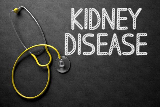 Kidney Disease Concept on Chalkboard. 3D Illustration.