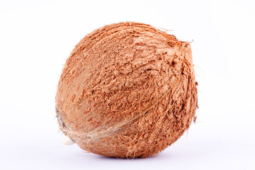 brown coconut shell  for coconut milk  on white background healthy fruit food isolated