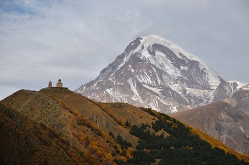 Kazbek and Gergeti church